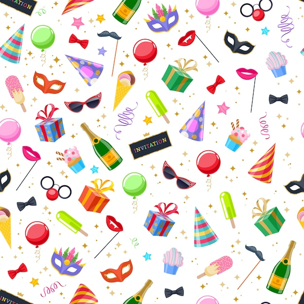 Празднование партии карнавала праздничный бесшовный фон. красочный образец символов - шляпа, маска, подарки, воздушные шары, флаги фейерверков шампанского Premium векторы