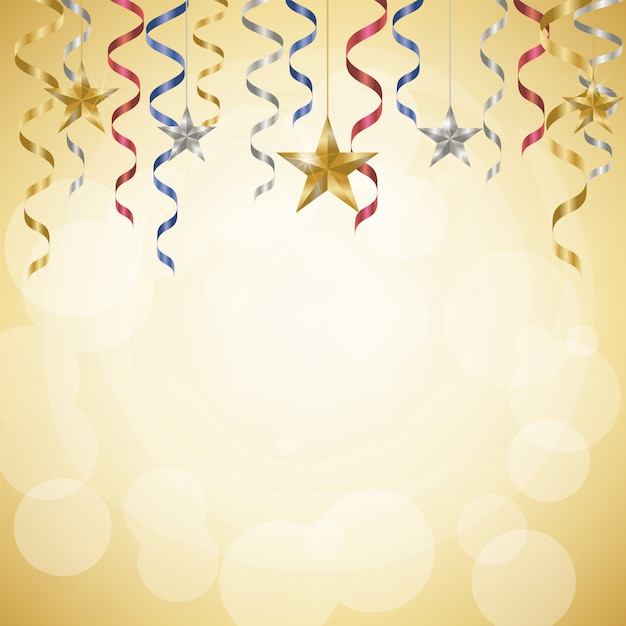 Celebration streamers and stars on golden background Premium Vector