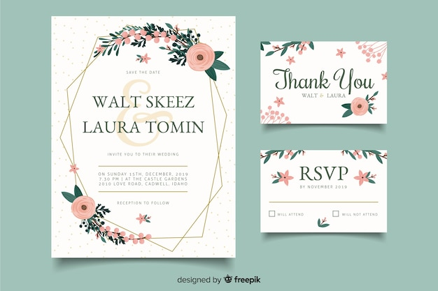Celebration wedding card invitations Free Vector