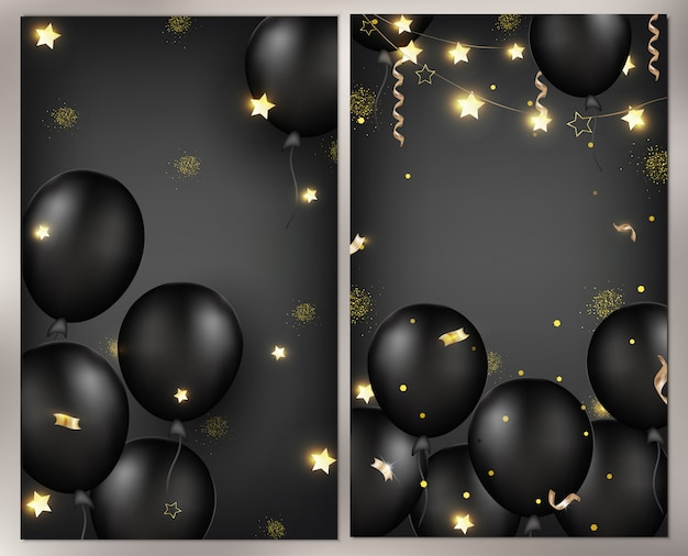 Celebrations background with black balloons, garlands, gold serpentine, confetti, sparkles.template for banner, greeting card or sales.  illustrations. Premium Vector