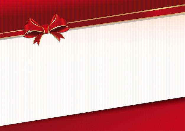 赤いリボンと厳粛なイベントのための弓のお祝い背景。グリーティングカードのテンプレートです。 Premiumベクター