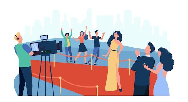 파파라치에 포즈를 취하고 레드 카펫을 따라 걷는 유명인은 평면 그림을 격리합니다. 유명한 영화 배우를 인사하는 만화 사람들 무료 벡터