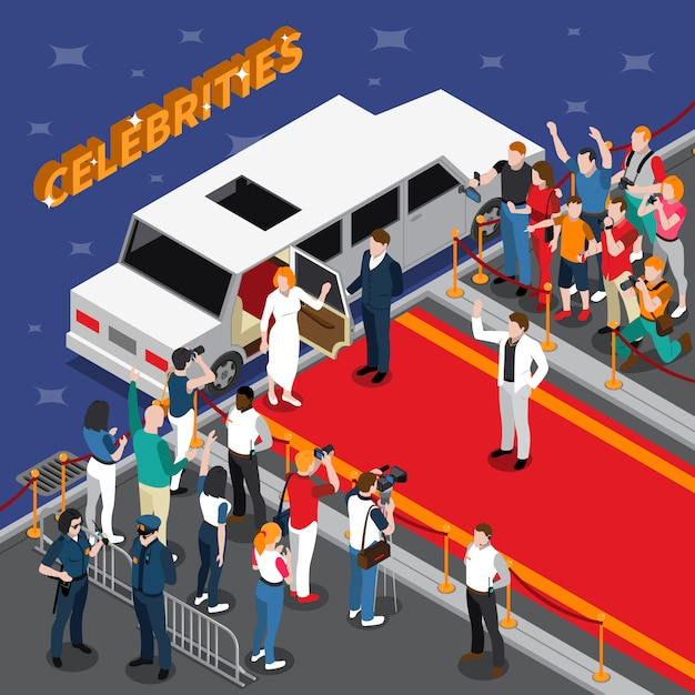 Celebrities on red carpet isometric composition Free Vector