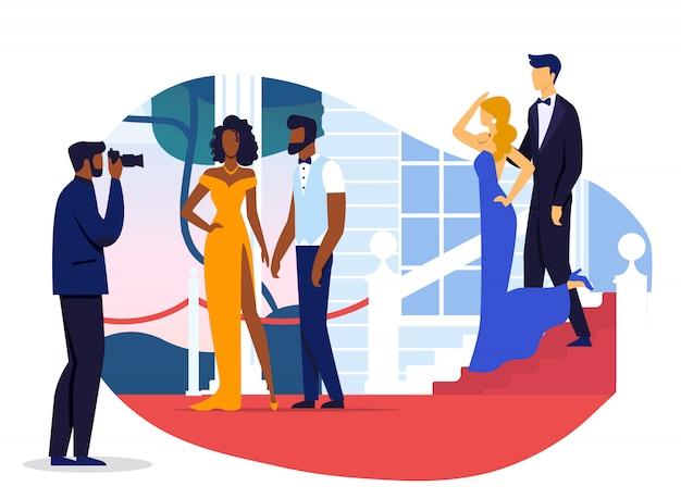 Celebrity couples photoshoot vector illustration Premium Vector