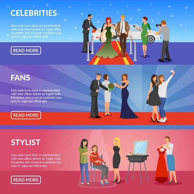 Celebrity horizontal banners Free Vector