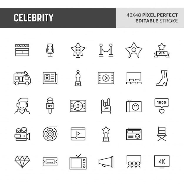 Celebrity icon set Premium Vector