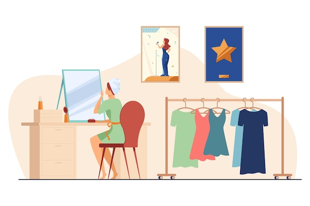 Celebrity preparing for show in makeup room Free Vector