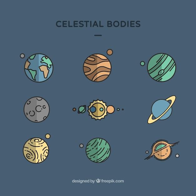 Celestial bodies Free Vector