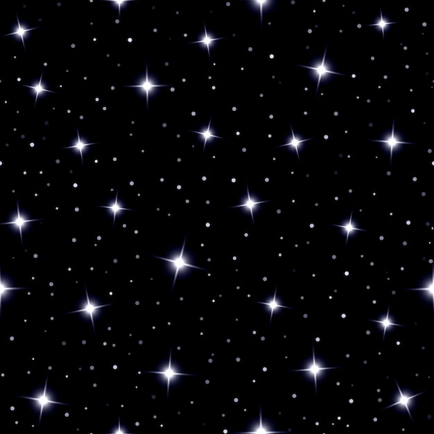 Celestial seamless background with sparkling stars glittering on a dark blue sky  in the night Free Vector