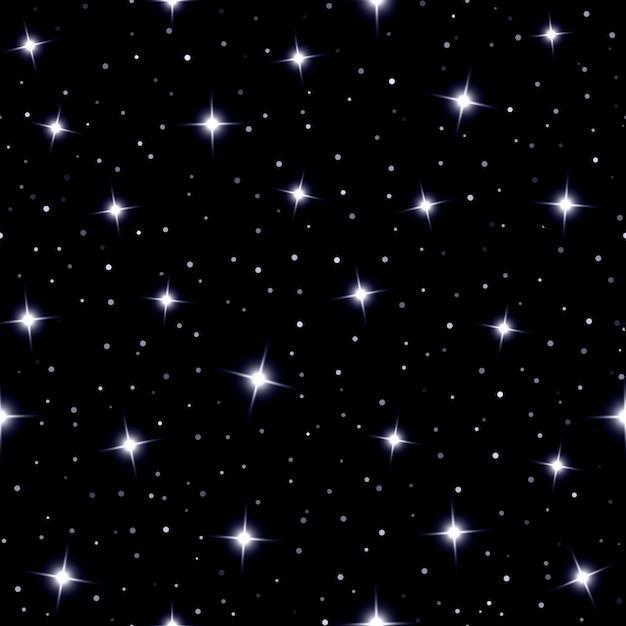 Небесный бесшовный фон со сверкающими звездами, сверкающими на синем небе в ночи Бесплатные векторы