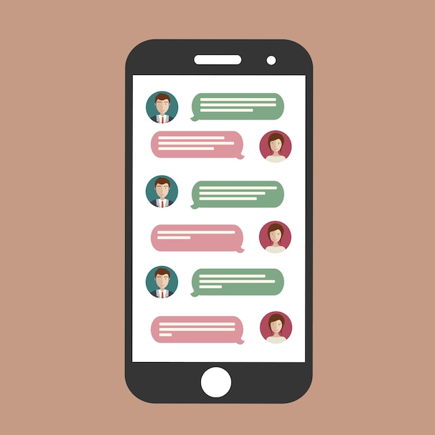 Cell phone chat Free Vector