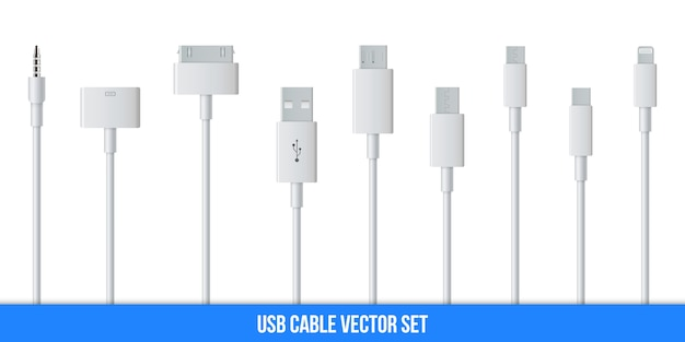 Cell phone usb charging plugs cable, smartphone. Premium Vector