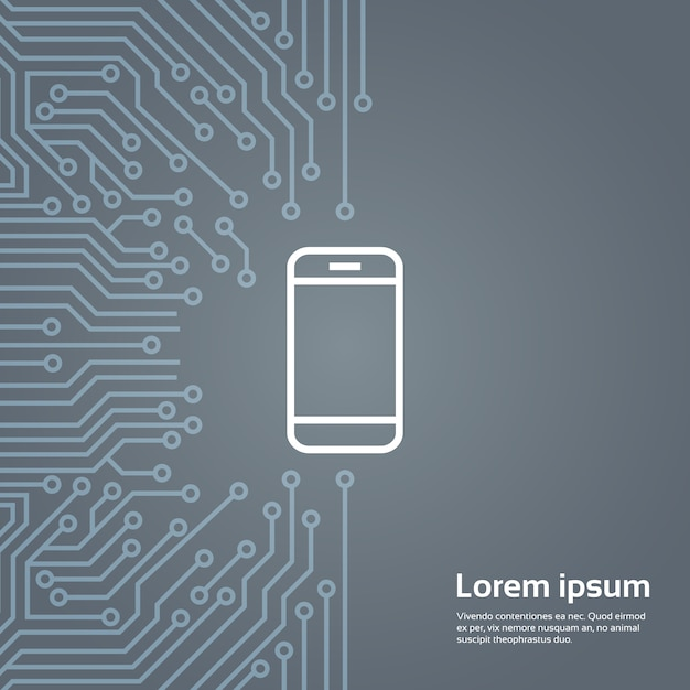 Cell smart phone icon over computer chip moterboard background banner Premium Vector