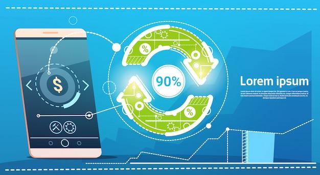 Cell smart phone update arrow finance success concept Premium Vector