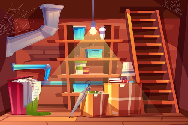 Cellar interior, storage of clothing inside the basement in cartoon style. Free Vector