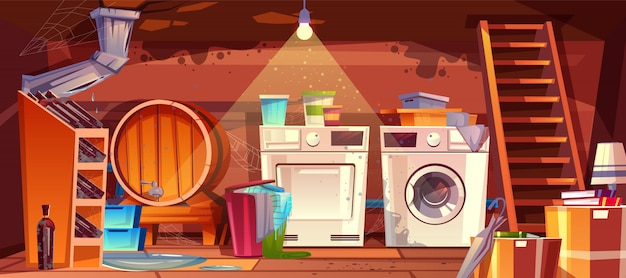 Cellar with leakage flood and black mould on walls illustration. Free Vector