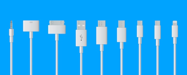 Cellphone usb charging plugs cable, smart phone. Premium Vector