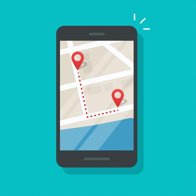 Мобильный телефон с указателями на карте города и направлением бега Premium векторы
