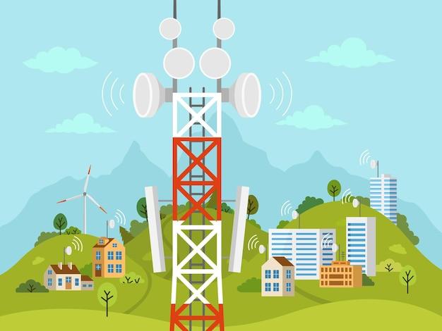 Башня сотовой связи перед ландшафтом. беспроводная связь радиосигнала с домами и строениями через препятствия. вышка мобильной связи с антеннами спутниковой связи. Premium векторы