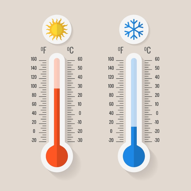Celsius and fahrenheit meteorology thermometers Premium Vector