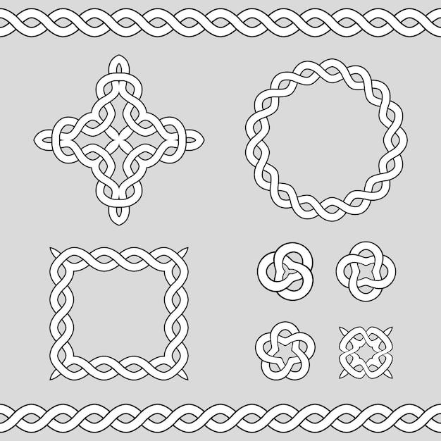 Celtic ornamental design elements Premium Vector