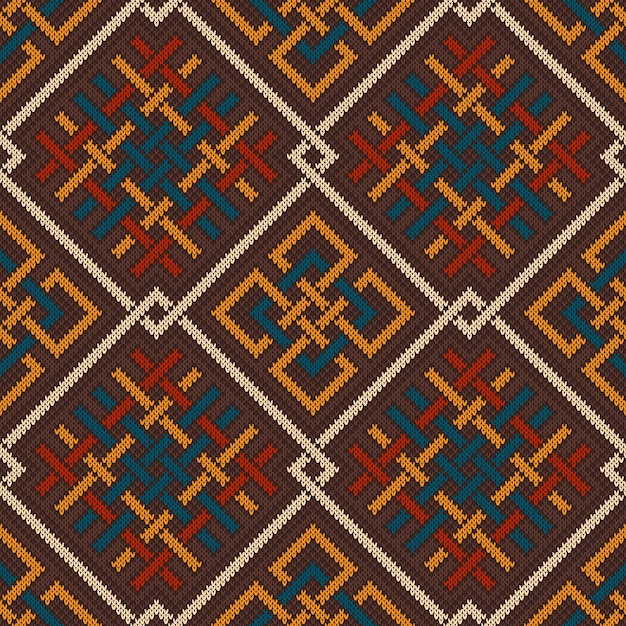 Celtic plexus design pattern. knitted wool seamless background Premium Vector