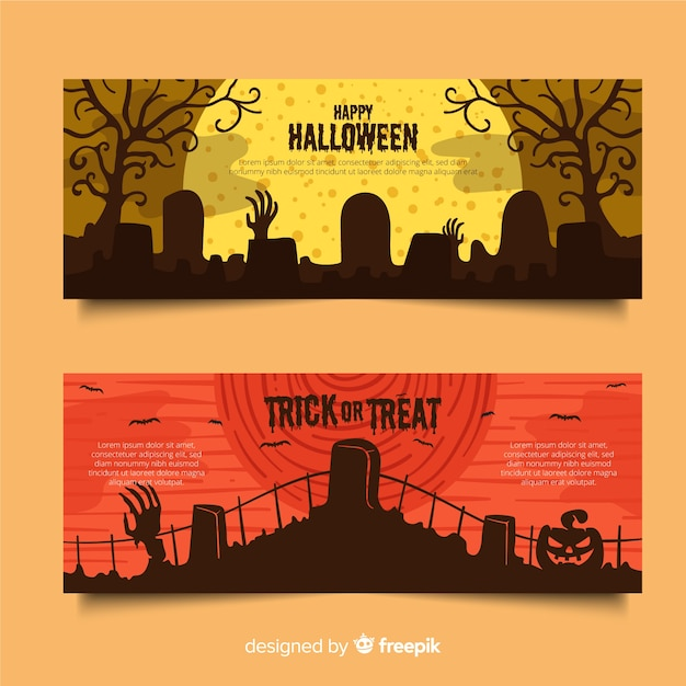 Cemeteries on a full moon night flat halloween banners Free Vector