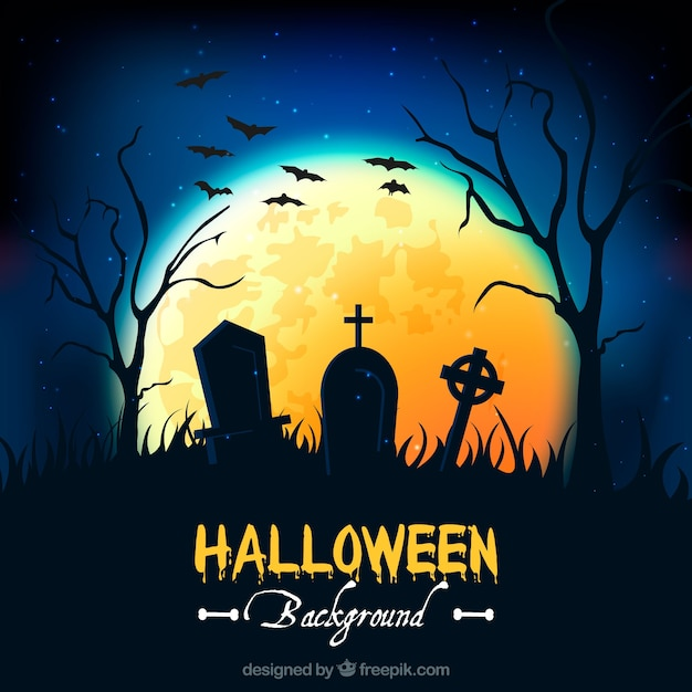 Cemetery background with tombs Premium Vector