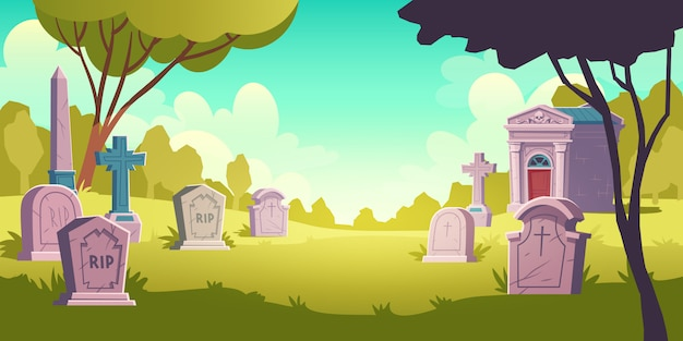 Cemetery day landscape Free Vector