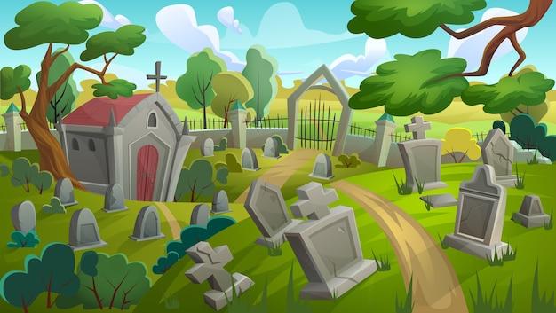 Cemetery graveyard landscape illustration Premium Vector