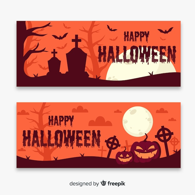 Cemetery at sundown flat halloween banners Free Vector