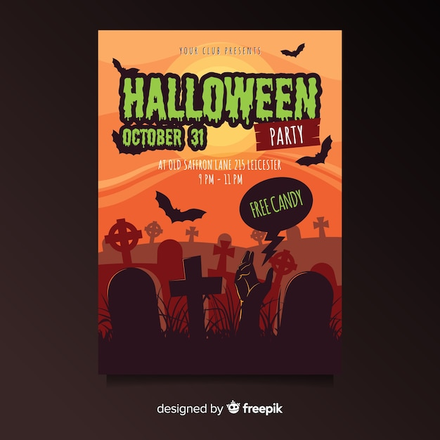 Cemetery at sunset halloween party flyer Free Vector