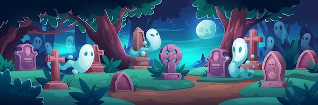 Cimitero con fantasmi di notte Vettore gratuito
