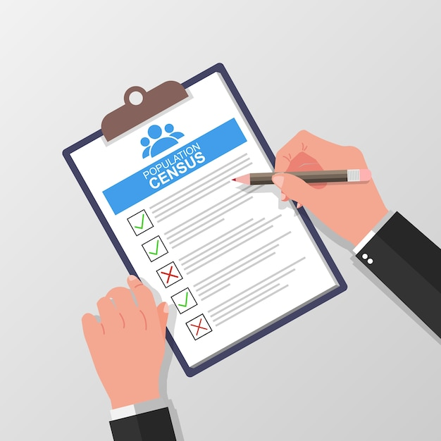 Census form with pencil vector illustration with hand holding and fill check list on paper sheet clipboard Premium Vector