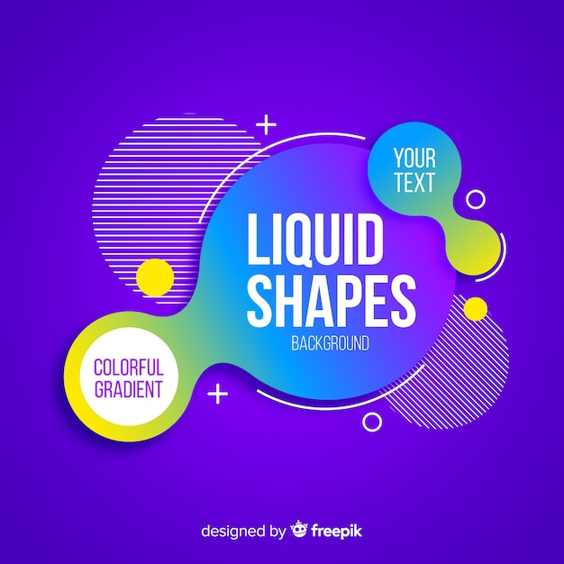 Centered liquid shapes with geometric shapes Free Vector