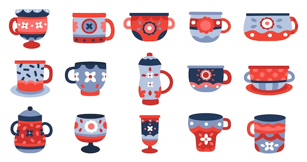 セラミックカップ。キッチン磁器カップ、食器陶器マグカップ、食器カラフルなカップコレクションイラストアイコンセット。陶器と陶器、手作りのヴィンテージ食器 Premiumベクター
