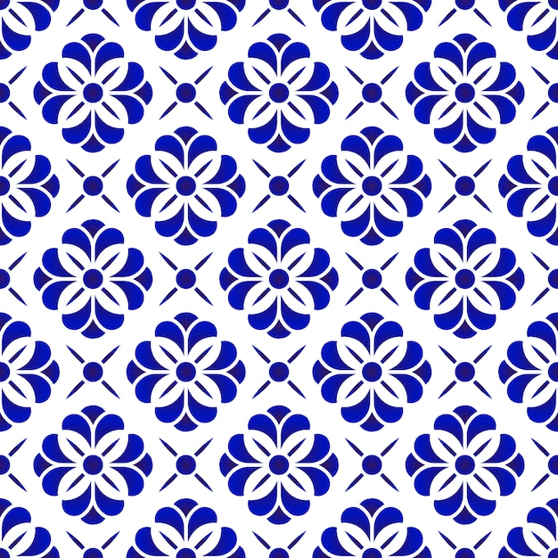 Ceramic flower pattern, blue and white floral seamless background, beautiful porcelain til Premium Vector