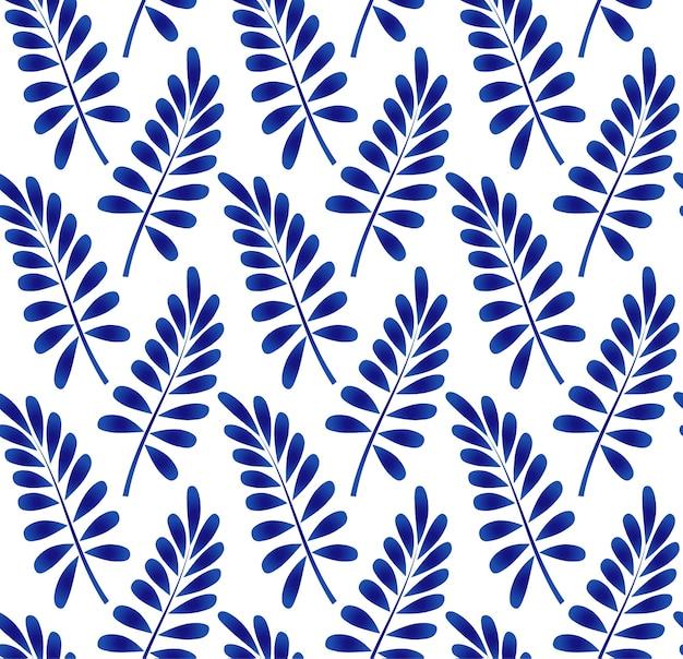 Ceramic leaves pattern blue and white Premium Vector