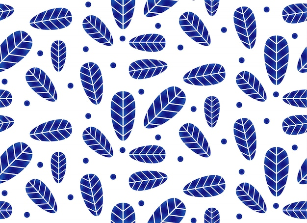 Ceramic pattern with leaves, porcelain ceramic seamless design, blue and white wallpaper with leaf decor Premium Vector