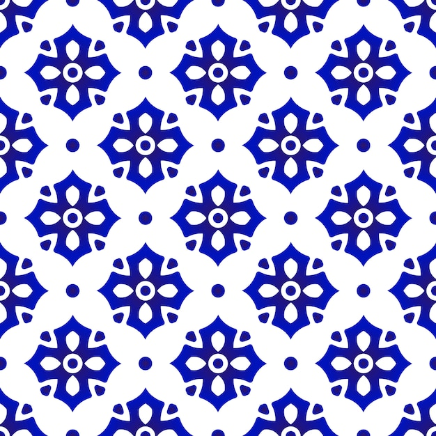 Ceramic thai pattern , abstract flower tile, blue and white floral porcelain Premium Vector