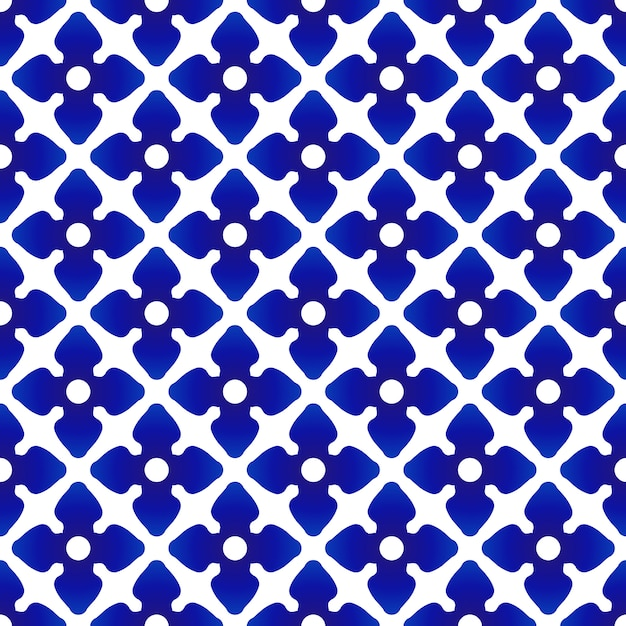 Ceramic thai pattern, flower blue and white background, porcelain seamless pottery modern Premium Vector