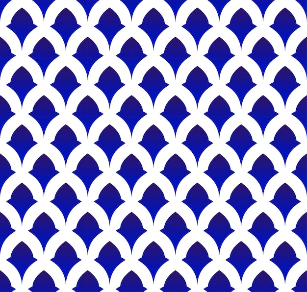Ceramic thai pattern, japan and china seamless porcelain blue and white modern background Premium Vector