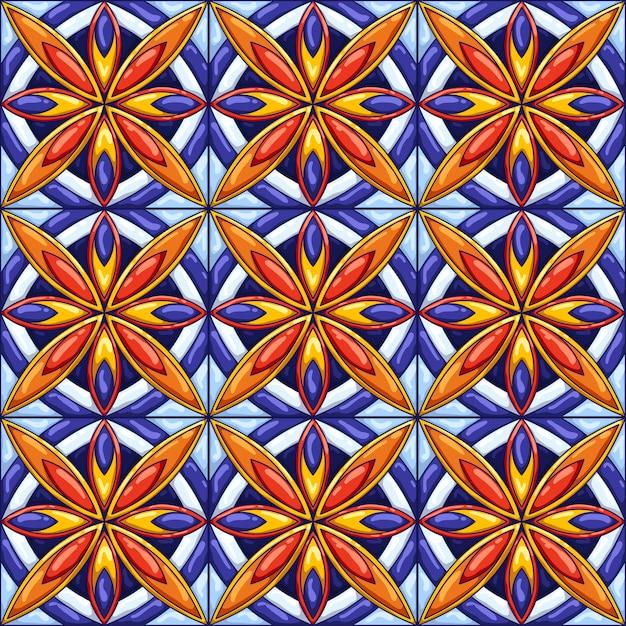 Рисунок керамической плитки. декоративный абстрактный фон. традиционная богато украшенная мексиканская талавера, португальское азулежо или испанская майолика Premium векторы