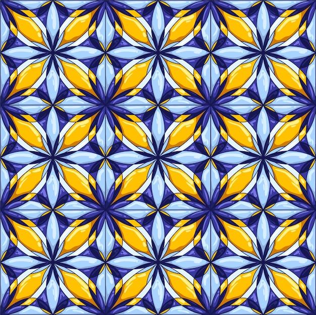 Ceramic tile pattern. decorative abstract background. traditional ornate mexican talavera, portuguese azulejo or spanish majolica. Premium Vector