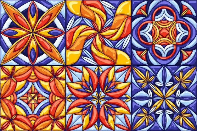 セラミックタイルパターン。伝統的な華やかなメキシコのタラベラ、ポルトガルのアズレージョまたはスペインのマジョリカ Premiumベクター
