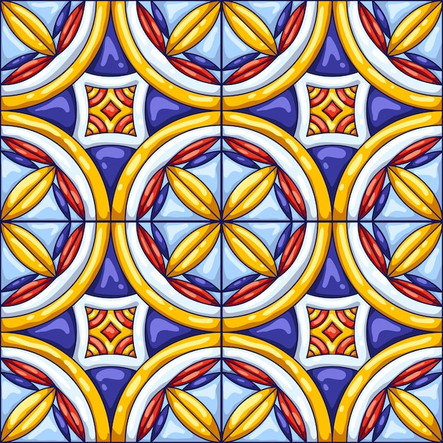 Ceramic tile pattern. typical ornate portuguese or italian ceramic tiles. decorative abstract background. Premium Vector