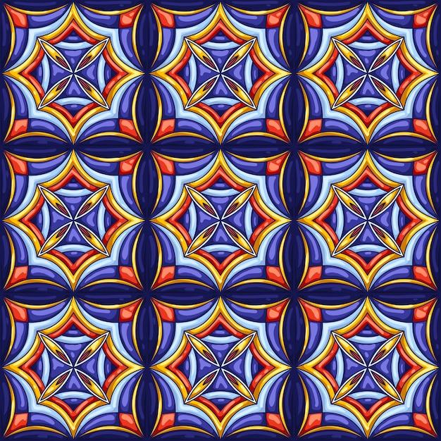 セラミックタイルパターン。典型的な華やかなポルトガル語またはイタリア語のセラミックタイル。装飾的な抽象的な背景。シームレスなレトロ。 Premiumベクター