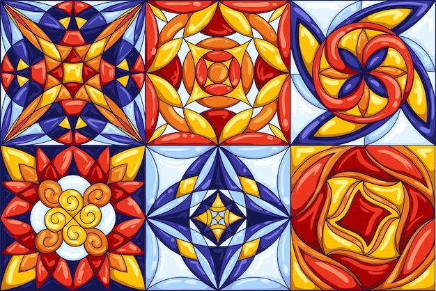 セラミックタイルパターン。典型的な華やかなポルトガルまたはイタリアのセラミックタイル。装飾的な抽象的な背景。シームレスレトロ。 Premiumベクター