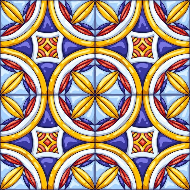 セラミックタイルパターン。典型的な華やかなポルトガル語またはイタリア語のセラミックタイル。装飾的な抽象的な背景。 Premiumベクター