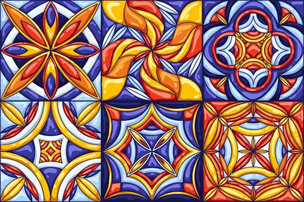 セラミックタイルパターン。典型的な華やかなポルトガル語またはイタリア語のセラミックタイル。 Premiumベクター
